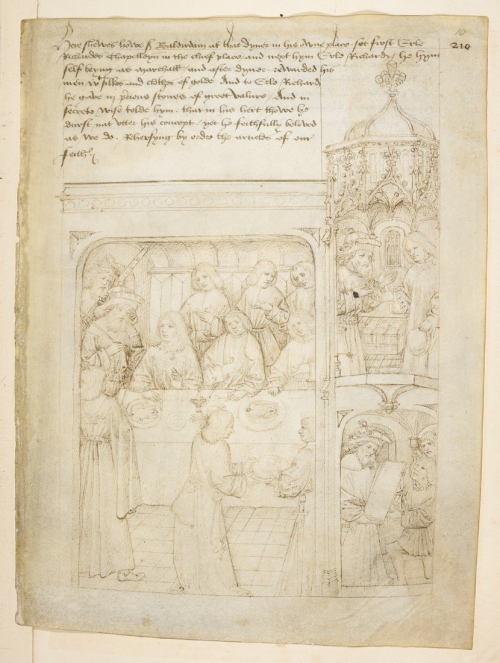 A page from The Pageants of Richard Beauchamp, showing an illustration of a banquet, thrown in honour of Beauchamp by Sir Baltirdam.