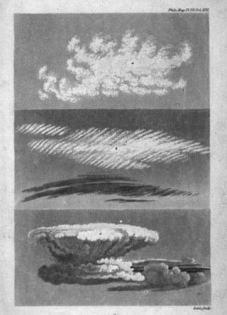 An image of three clouds of different types, described in the caption