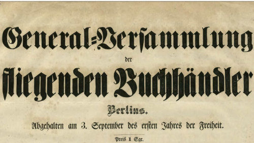 Masthead from the broadside 'General-Versammlung der fliegenden Buchhändler Berlins'