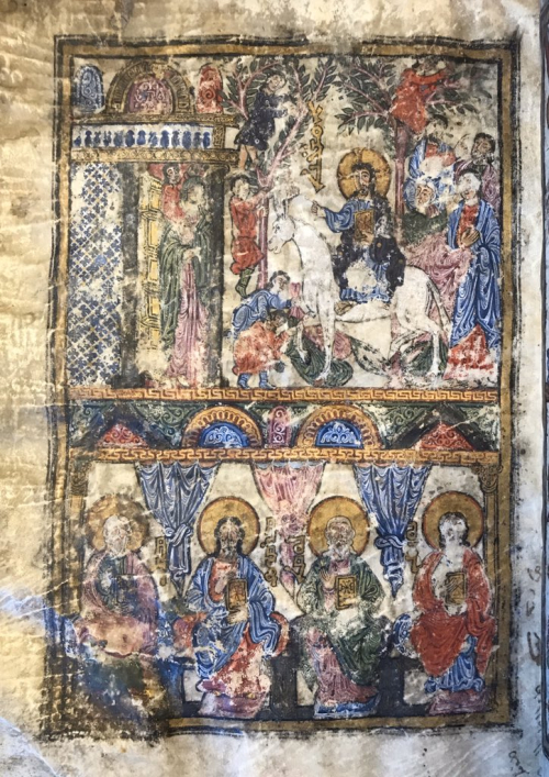 Jesus' entry into Jerusalem from 10th century Syriac manuscript