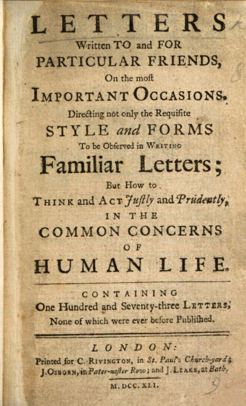 "Photograph of the frontispiece of Samuel Richardson's ""Letters Written to and for Particular Friends"""
