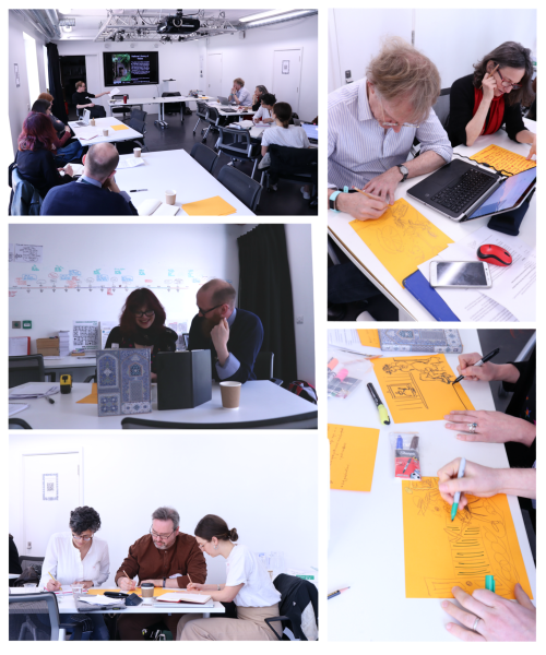 Participants at the Curatorial Voices workshop, working in small groups and drawing images on paper.