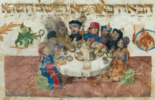 Seder table from the Ashkenazi Hagadah