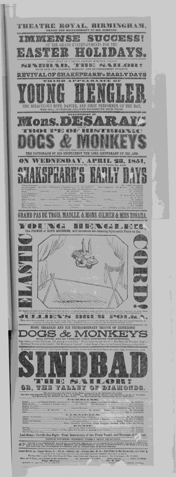Playbill for Birmingham Theatre Royal, 22 April, 1851