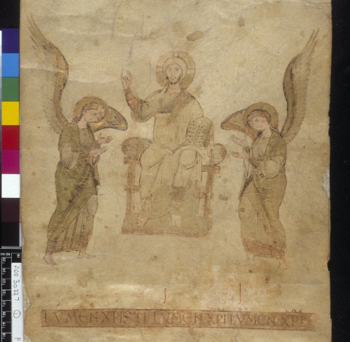 Christ enthroned, adored by angels