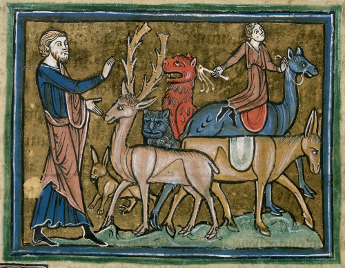 Miniature from the Rochester Bestiary showing Adam naming the animals