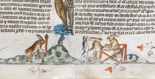 Rabbits conduct a criminal trial of a dog in the Smithfield Decretals