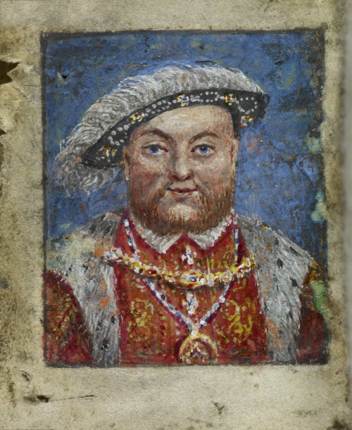 A small portrait of Henry VIII, from a 16th-century girdle book possibly owned by Anne Boleyn