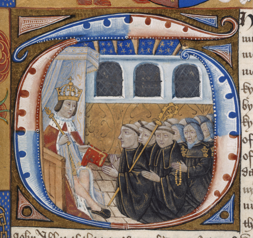 A detail from a 16th-century manuscript, showing an enlarged decorated initial with a representation of Henry VII bestowing a manuscript a group of kneeling monks.