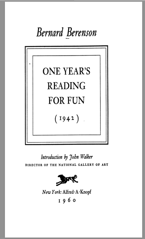 Screenshot image of the title page of Bernard Berenson's book One year's reading for fun (1942), published in New York by Alfred A. Knopf in 1960