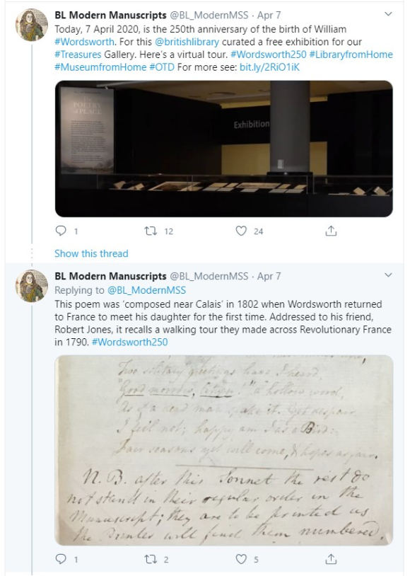 Twitter Tour of Wordsworth exhibition