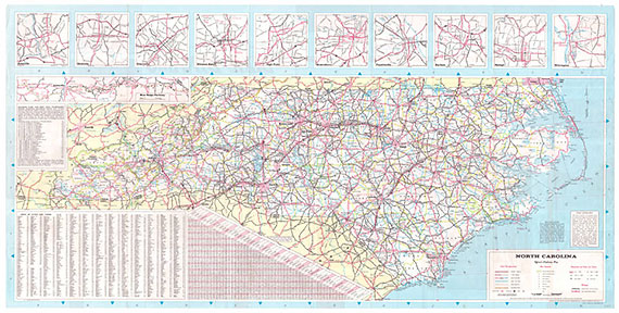A road map from 1967 entitled Official North Carolina Highway Map