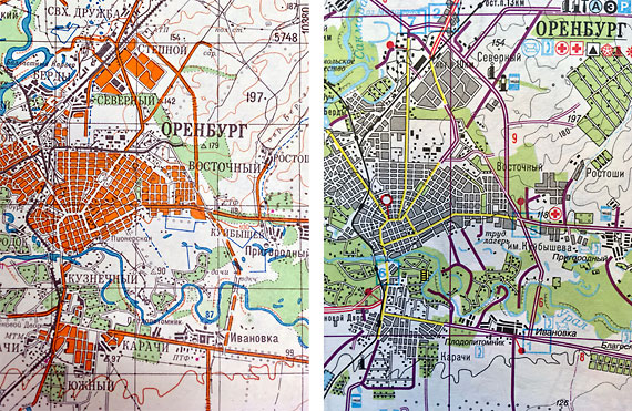Details of two Soviet/Russian topographic maps of Orenburg published in 1987 and 2003