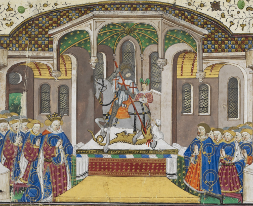 Two groups of men and women in blue mantles with blue garters on them, standing to the left and right of an altar on which St George on horseback impales a dragon with his lance. Behind him stands a woman with a pink gown and green headwear, and holding a white lamb on a leash, who represents the princess who, according to medieval legend, had been selected through a lottery to offer herself as food to the dragon.