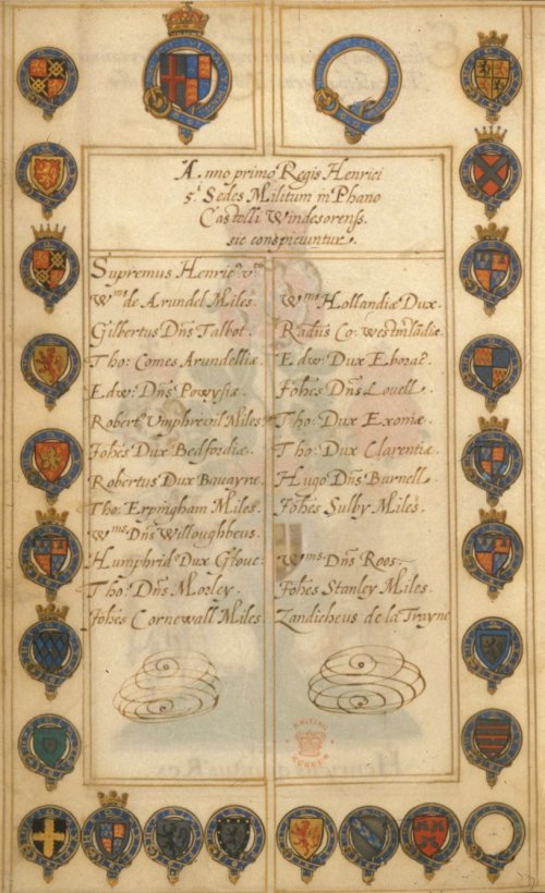 A list of the Knights of the Garter in the first year of the reign of King Henry V with in the page's margins the coats of arms of its 26 members, including those of the King. Two have been left unfinished.