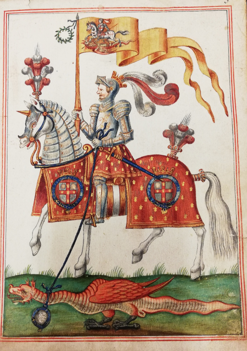 This illustration shows George Villiers in full armour and riding a horse with a red caparison (horse cape) which displays the Order of the Garter's coat of arms (the red cross of St George encircled by the blue garter). In his right hand, he is holding a lance with a yellow banner that features an image of St George slaying the dragon. In his left hand, he is holding a blue leash that goes around the neck of a small winged red dragon below him. From the dragon's neck, and attached to the leash, hangs the blue garter with, what appears to be, a sketch of St George slaying the dragon inside it.