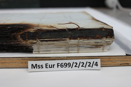 Spine of Charlotte Canning's diary F699 2/2/2/4 after sewing repair