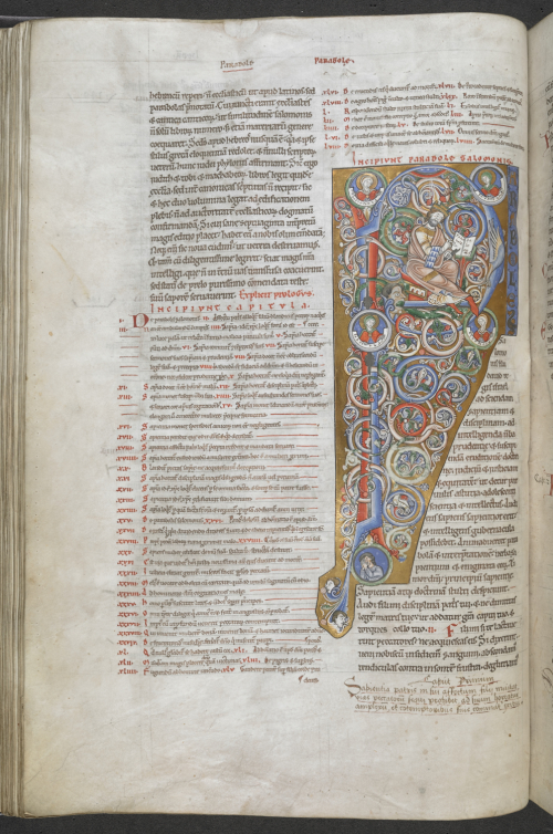 Decorated initial of Solomon writing 'Parabole Salomonis', with busts of Wisdom, Fortitude, Justice and Prudence, at the beginning of Proverbs