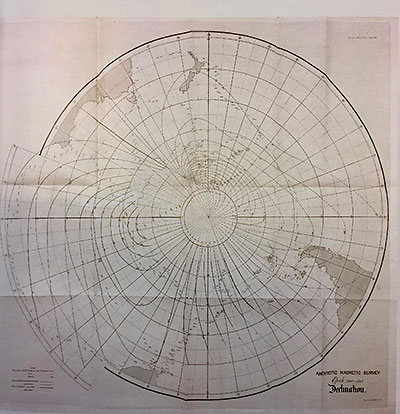 Map showing the Antarctic Magnetic Survey published in 1869 by the Royal Society