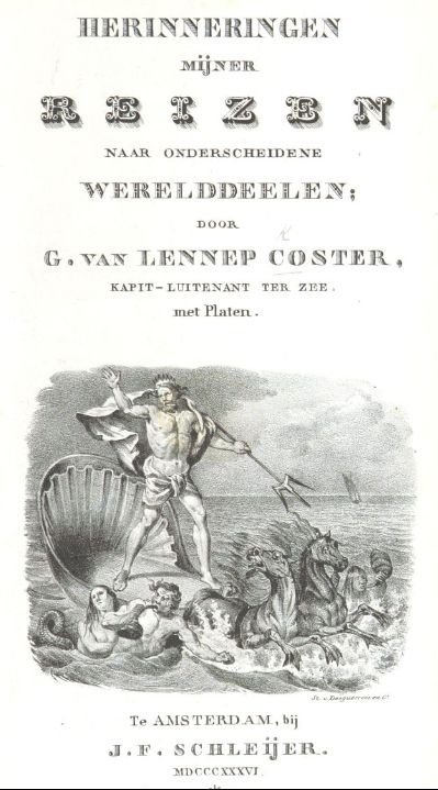 Cover of 'Herinneringen mijner reizen' with vignette showing the god Neptune in a sea-borne chariot