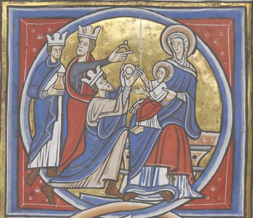Medieval manuscript miniature of the Adoration of the Magi
