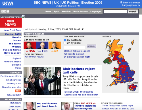 BBC news Election website from 2005