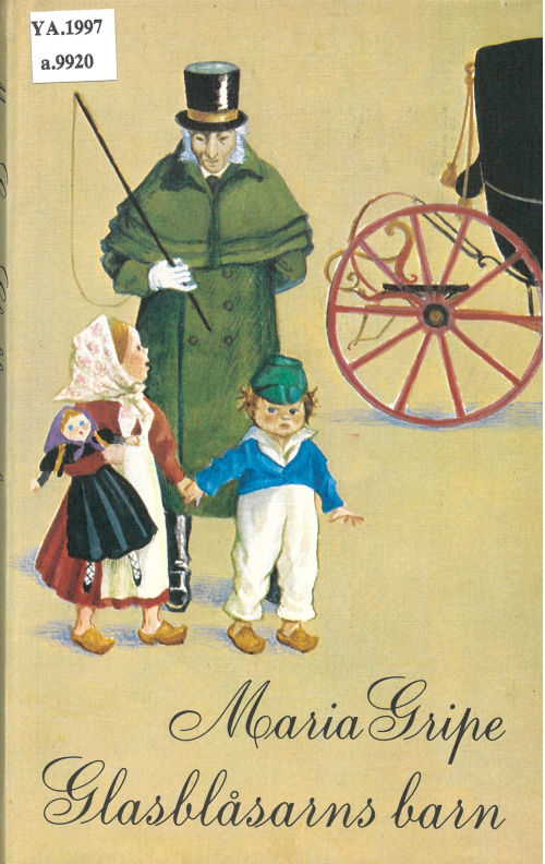 Cover of 'Glasblåsarns barn' with an illustration of two children and a coachman