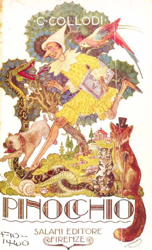 Cover of a 1924 edition of 'Pinocchio' with an illustration showing some of the characters of the story