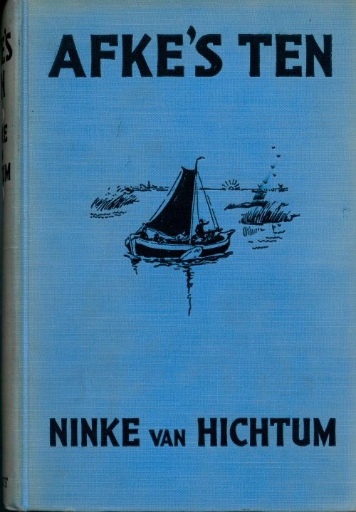 Cover of 'Afke's Ten' with a picture of a small sailing-boat on a river