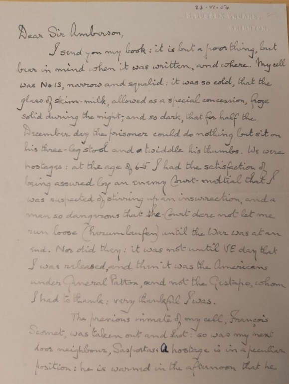 First page of the letter from Vyvyan MacLeod Ferrers