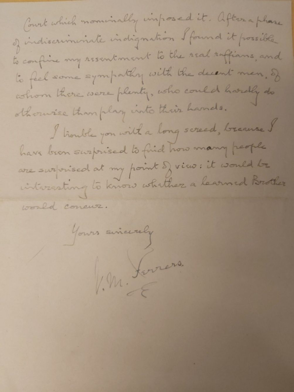 Final page of the letter from Vyvyan MacLeod Ferrers