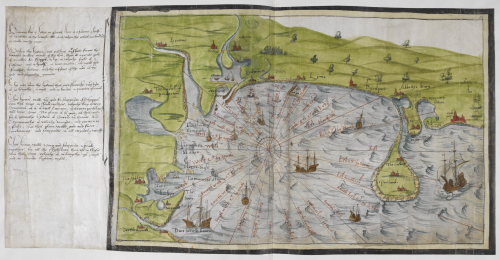 A coloured manuscript map of the coasts of Devon and Dorset