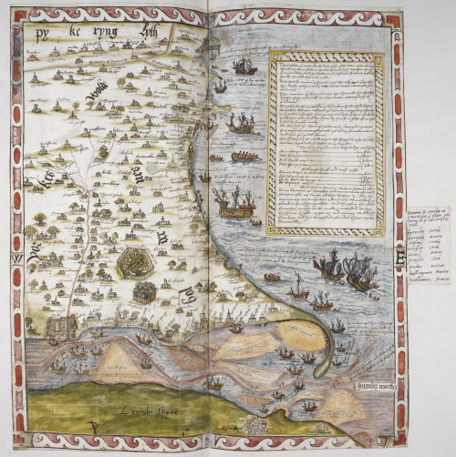 A coloured manuscript map of the Humber river