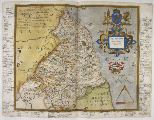 A coloured map of Northumberland