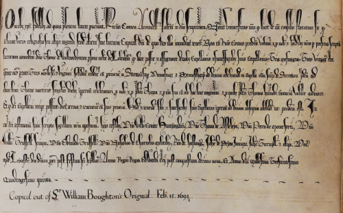 A copy of a charter, written by Humfrey Wanley