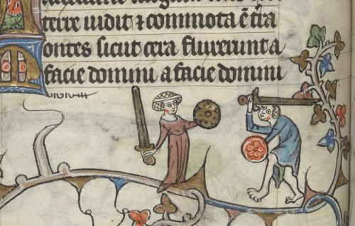 A page from an illuminated manuscript showing a lady holding a sword and shield and a man brandishing the sae weapons