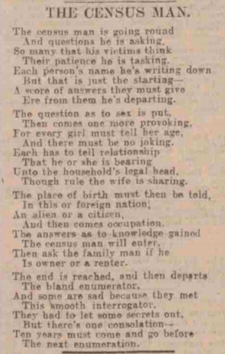 Poem The Census Man
