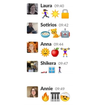 Daily stand-up update using emojis.