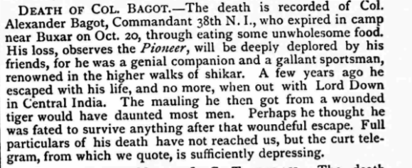 Death of Col Bagot Homeward Mail 24 Nov 1874