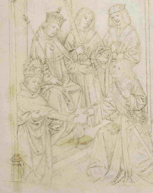 A page from The Pageants of Richard Beauchamp, Earl of Warwick, showing an illustration of Beauchamp kneeling before Henry V, receiving his appointment as Captain of the French city of Calais.