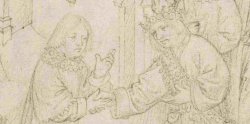 A detail from The Pageants of Richard Beauchamp, Earl of Warwick, showing Beauchamp greeting and shaking hands with the Doge of Venice.