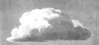 A greyscale image of a painting of a large fluffy cloud
