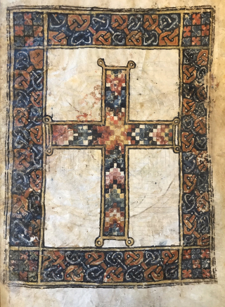 Multicolour mosaic cross from a Psalter