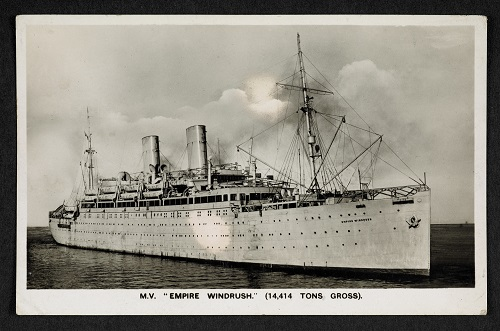Postcard from Andrea Leavy Archive showing photograph of the Empire Windrush