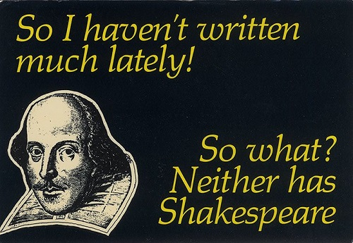 Postcard from Angela Carter Archive  showing Shakespeare portrait