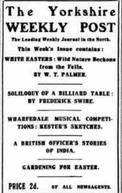 List of contents for Yorkshire Weekly Post in April 1922