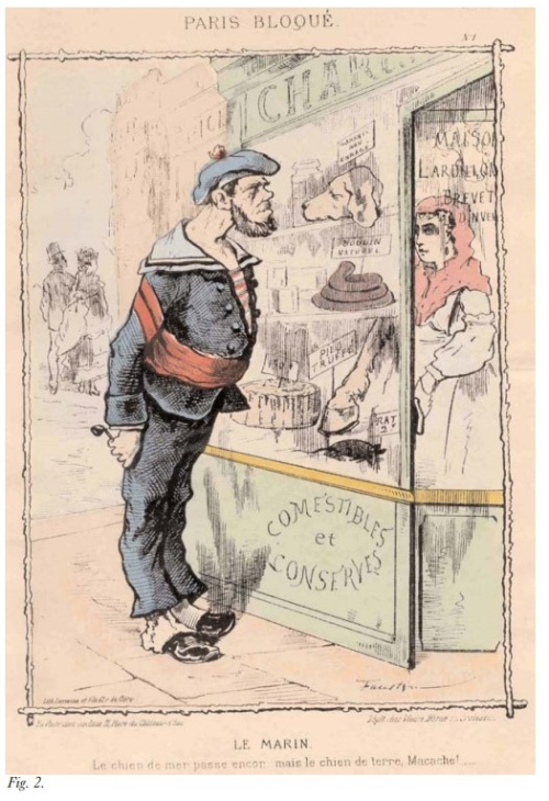 Caricature of a French soldier looking in a shop window