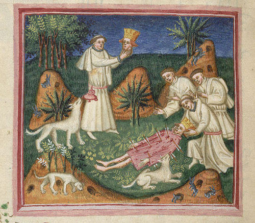 The discovery of St Edmund's body, with dogs and rabbits in the foreground