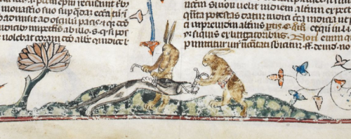 Rabbits bind and gag a dog in the Smithfield Decretals