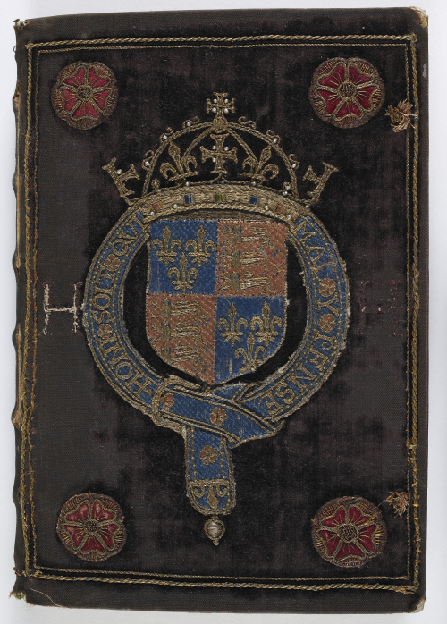 The crimson velvet binding of a manuscript, which belonged to Henry VIII